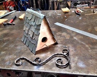 Modern Bird House with Scroll Bracket, Bird Cottage, Bird Feeder