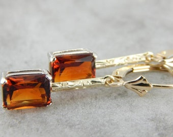 Beautiful Decorative Citrine Drop Earrings With Lovely Engraved Centers JTCN5A-P