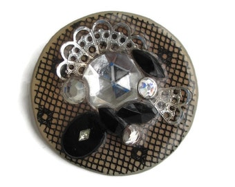 Vintage Mixed Media Acrylic Rhinestone Filigree  Collage Abstract Pin