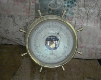 Brass Airguide Barometer Compensated Brass Shipswheel Wall Hanging