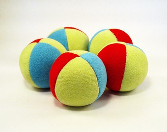 5 handmade mini lightweight, 2inch juggling balls advanced jugglers in green, red&blue