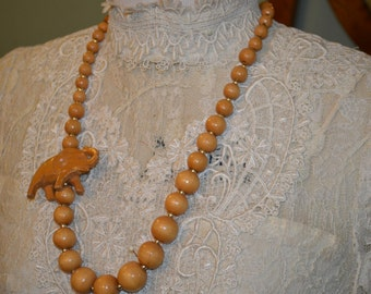Wooden beads and carved elephant necklace