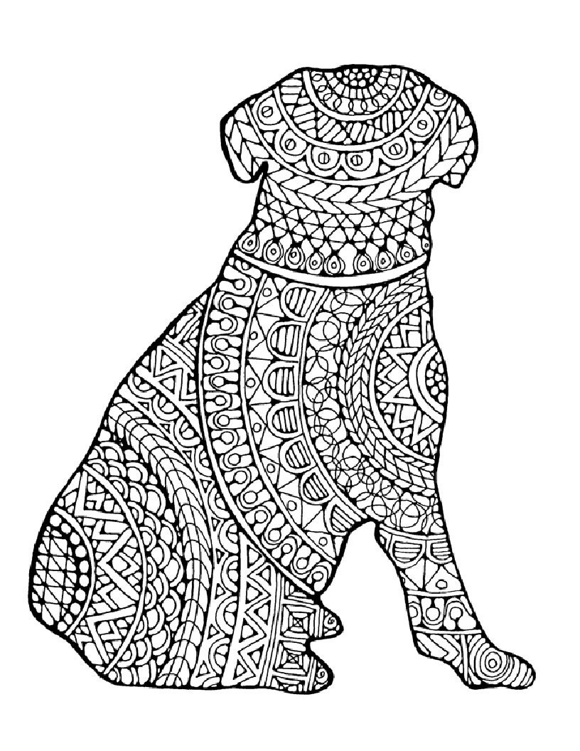free printable dog coloring pages for adults | Dog Coloring Page to Print and Color Nature by ...