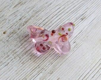Handmade Lampwork Glass Bead- 'Blossom' Butterfly Focal Bead - SRA - E82