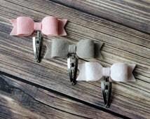 Felt bow snap clips - baby, toddler, girls hair clips - felt bow clips