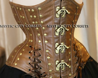 Brown distressed Leather Underbust corset Steampunk MCC-44