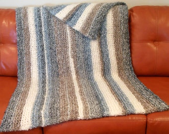 Hand Knit Afghan, Warm blanket, Knitted Throw