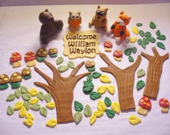 WOODLAND Animals Edible Fondant Personalized Cake Decorations