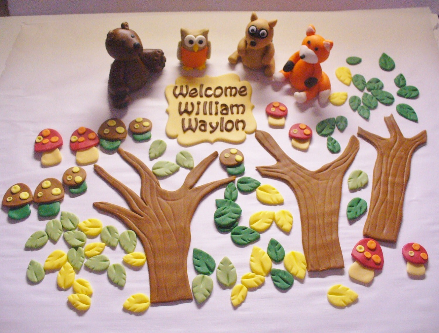 Cake Decoration Woodland Animals : WOODLAND Animals Edible Fondant Personalized Cake Decorations