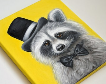Mr. Racoon giclée print on canvas. Racoon wrapped canvas. Racoon art. Racoon gift.  Kids decor. Children decor. Racoon painting print.