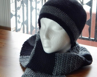 Black/Gray Crocheted Hat and Scarf Set