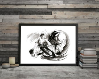 Aikido, aikido art, japan art, martial arts, ink painting, aikido watercolor, aikido poster, asian art, asian print