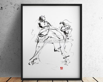Karate Poster Martial Arts Wall Home Decor Calligraphy Style Japanese Art