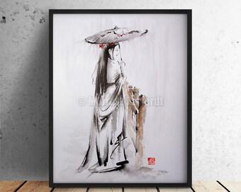 Geisha Portrait Oriental Watercolor Art Beauty Woman Poster Glamour Artwork