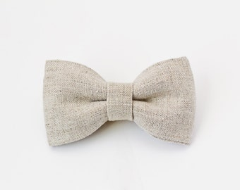 Boy Bow Tie with Elastic - Sand Linen Bow Tie - Baby, Toddler Boy, Easter Bow Tie - Wedding Bow Tie - Christmas, Holidays, Tan