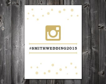 DIY Printable PDF 8x10 - Instagram Sign, Gold, Customize Colors
