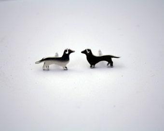 Sausage Dog Earrings, Silver dog,  Dachshunds earrings, Daytime earrings, Handmade, Animal jewellery, Dog lover gifts, animal earrings,