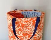 Free US Shipping Reversible Large Coral Tangerine Orange Navy Sunbrella Coral Ivory White Nautical Coastal Beach Market Book Tote Bag LINED