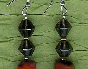 Earrings - Red Jasper, Smoky Quartz, Freshwater Pearls, Sterling Silver