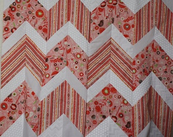 Unfinished Quilt Top Ready to Quilt Baby Lap Throw Quilt Pink Red White