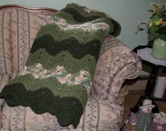 Handmade Green Ripple Afghan