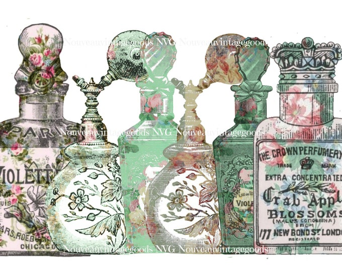 Vintage Digital Shabby Perfume Bottles, Printable Perfume Bottles, Vintage perfume Bottle Clipart Download
