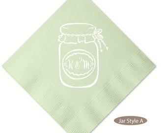 Personalized Mason Jar Wedding Napkins