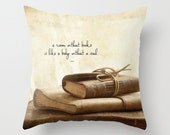 Vintage books and quote Photo Throw Pillow Cover, home decor, photo pillow, still life, leather books, cream, taupe, brown