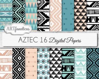 "Tribal digital paper ""AZTEC"" digital paper tribal designs in blue, beige, black, white, arrows, triangles for scrapbooking, invitations etc"
