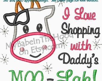 I Love Shopping with Daddy's Moo-Lah Cow Applique Embroidery Design