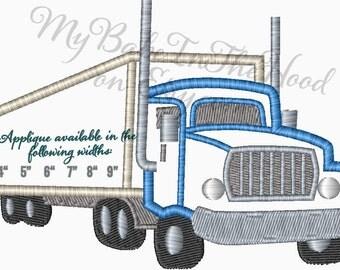 Semi Truck Applique Embroidery Design  Single Cab Semi Truck