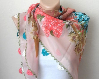 rose color scarf pink scarf floral print scarf cotton scarf oya scarf handmade woman accessories pink shawls gift for her