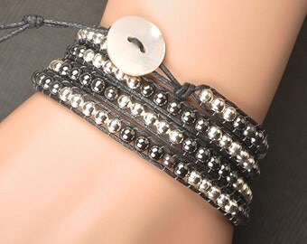 4 Layer Beaded Leather Wrap Bracelet with 6mm Hematite & Silver Beads on Black Geniune Leather Cord Mother of Pearl Button Toggle Clasp