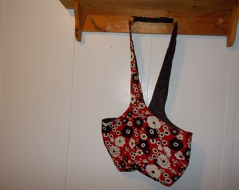 Hobo bag. Red, white and black floral, black reversible
