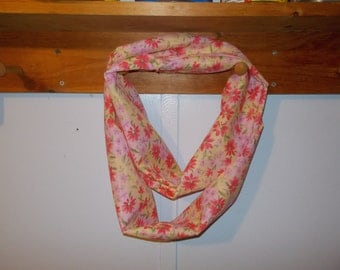 "Infinity Scarf. Pink and yellow flowers, perfect for spring!.  Approx 5"" x 72"".  Great light weight scarf to add  to your outfit."