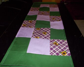 Table runner patchwork  approx 12 x 36 Sunflower purple and green reversible.