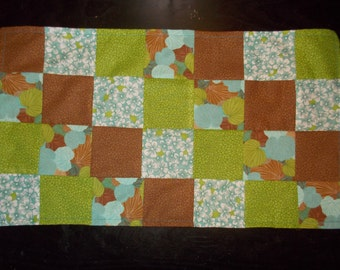 Table runner patchwork  approx 12 x 24 Green, brown and blue floral reversible.