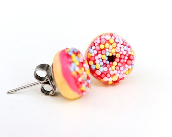 Pink donut studs - Strawberry (hot pink) iced donut stud earrings - with sprinkles of course - Kawaii kitsch - food jewellery