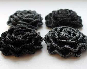 Crocheted Linen Rose Brooch
