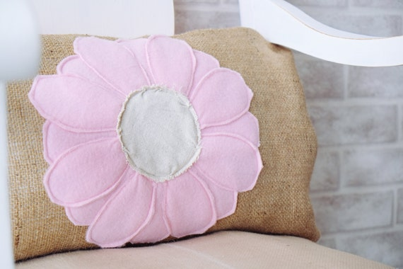 Blush Pink Decorative Pillow : Items similar to Burlap fabric pillows decorative pillow throw pillow cover Blush pink flower ...