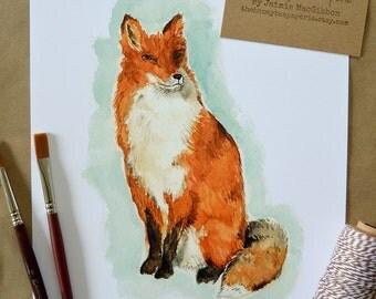 Fox Art Print/ Children's Art/ Kids Art/ Woodland Art/ Nursery Art/ Woodland Decor/ Watercolor Fox-8x10