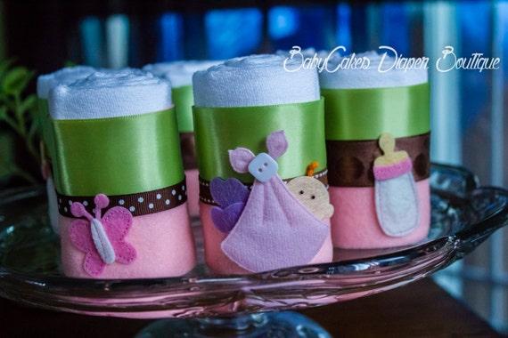 Cloth Diaper, Diaper Cupcakes, it's a girl