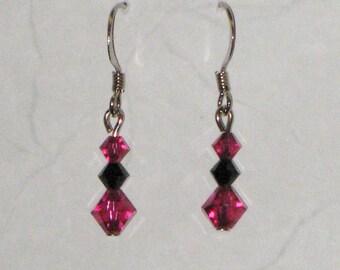 Pink & Black Swarovski Crystal Earrings