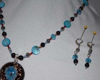 Blue flower Jewelry set