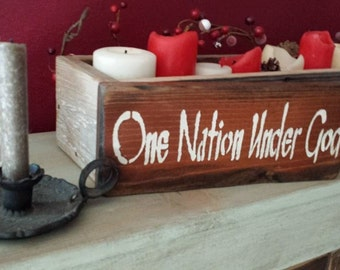 """Grungy One Nation Under God Primitive Distressed Reclaimed Wood Sign 4-3/4"""" x 12"""" Home Porch Wall Wedding Table Decor Custom Colors Welcome"""