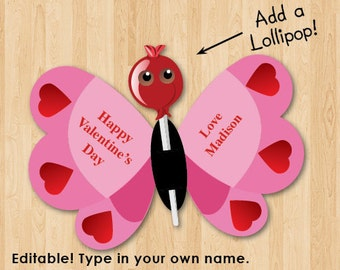 Kids Valentines Printable Lollipop Butterfly Card, Instant download, Personalized, Custom, DIY, Lollypop Valentines