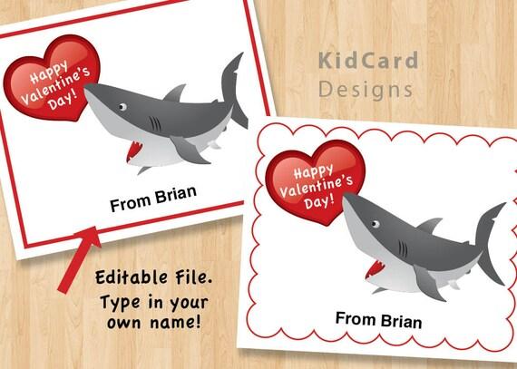 valentines day card shark - Printable Shark Valentine Cards Digital Instant Download