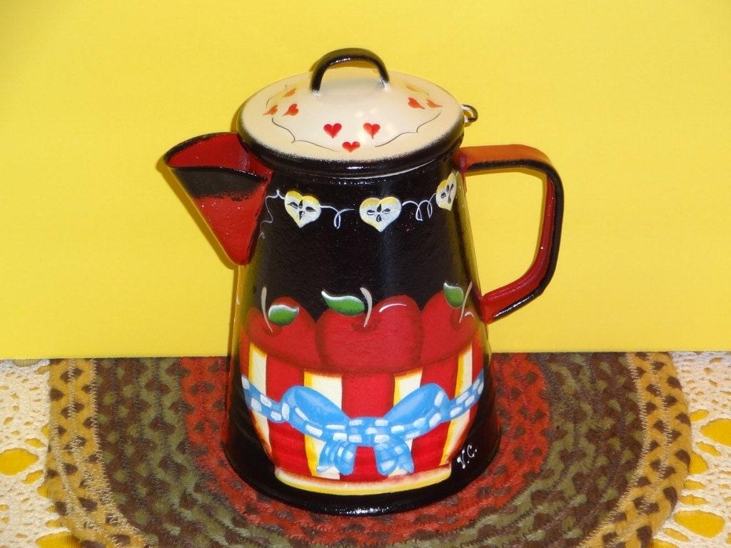 Apple Coffee Maker ~ Vintage enamel apple coffee pot decorkitchen
