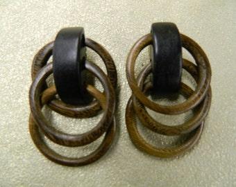 Vintage wood triple hoop clip on earrings