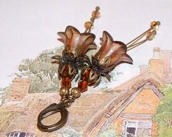 Lucite Earrings, Lucite Flower Earrings, 'Thatched Cottage' Drop Earrings, Handmade Earrings, Hand Painted, Brown Earrings, Filigree Bronze